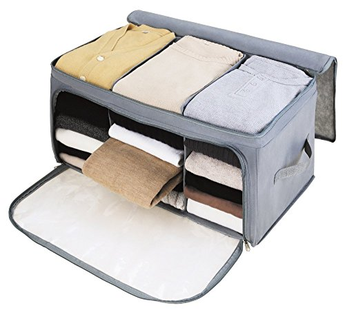 VOIMAKAS Bamboo Charcoal Storage Box, Folding Breathable Two Doors Clothing Quilt T-Shirt Organizer Container Blanket Zipper Underbed Storage Bag - Grey