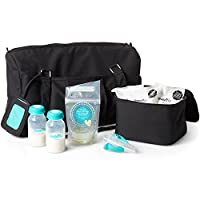 Evenflo Feeding Black Pumping Accessories Tote for Breastfeeding - with Milk Collection Bottles, Bags and Breast Pump Adapters