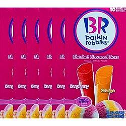 Baskin Robbins Freeze Pops Sherbet Flavored Bars Raspberry & Orange 10 Oz Pops (6)