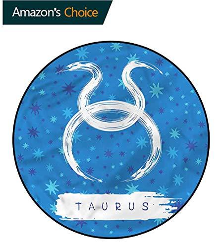 RUGSMAT Taurus Carpet Gray Round Area Rug,Astrological Horoscope Sign Non Slip Rug Diameter-59
