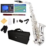 Mendini by Cecilio MAS-30S+92D+PB Silver Plated E Flat Intermediate to Advanced Alto Saxophone with Tuner, Case, Mouthpiece, 10 Reeds and More