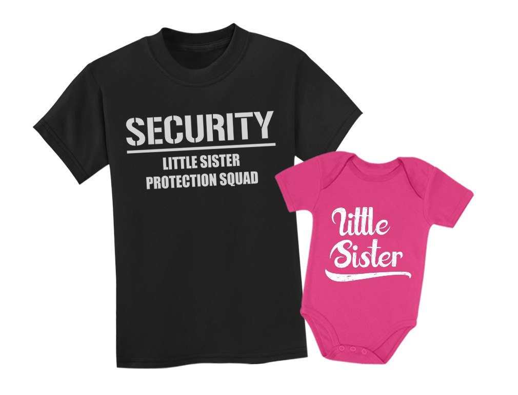 Big Brother & Little Sister Siblings Set - Security For My Little Sister Shirts Toddler Kids T-Shirt Black 5/6/Baby Bodysuit Wow pink 6M (3-6M)
