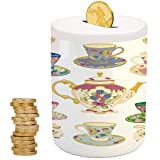 Tea Party,Ceramic Girls Bank,Printed Ceramic Coin Bank Money Box for Cash Saving,Selection of Vivid Colored Teacups Pot Sugar and Floral Arrangements in Corners Decorative
