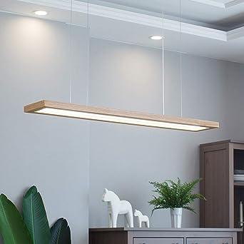 Lámpara colgante LED mesa de comedor lámpara colgante madera rústica regulable 35W con el control remoto lámpara colgante lámpara colgante de altura ajustable comedor, estudio, sala de estar, cocina: Amazon.es: Iluminación