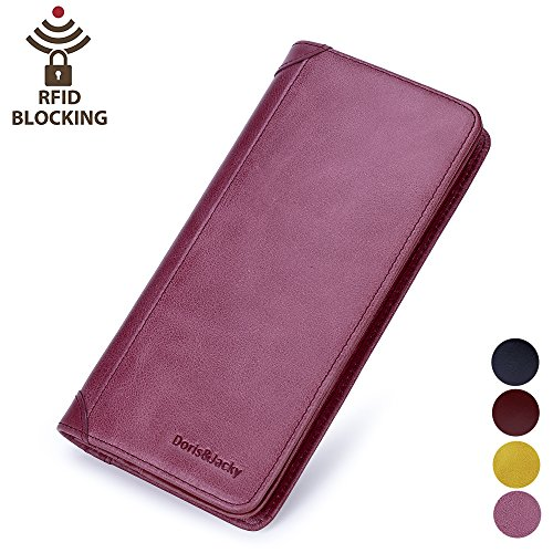 - Women's Leather Wallet Italian Long Slim Rfid Blocking Card Holder Purse For Ladies (Purple)
