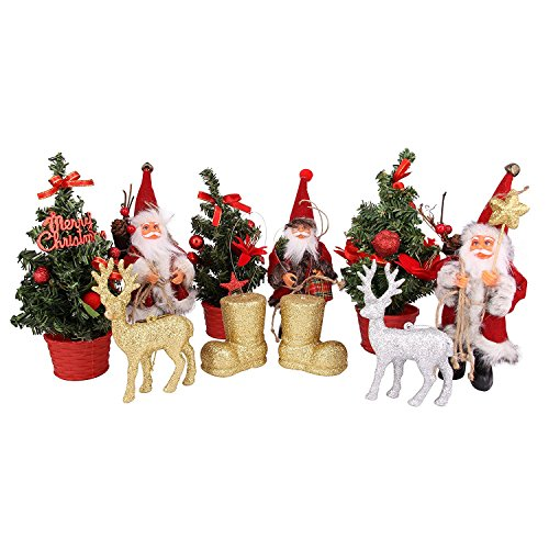 QTMY Christmas Xmas Tree Decorations Ornaments for Home Decor Santa Reindeer Sock Hanging Ornaments Set,10 Variety Pack Assorted (10 pack Christmas Ornaments) (Tree Xmas Photos)