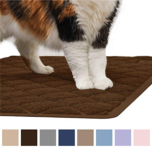 Gorilla Grip Original Premium Durable Cat Litter Mat (35x23), XL Jumbo, No Phthalate, Water Resistant, Traps Litter from Box and Cats, Scatter Control, Soft on Kitty Paws, Easy Clean Mats (Brown)
