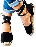 Ru Sweet Womens Ankle Wrap Strap Flat Espadrilles Side Cutout Lace Up Platform Flats Shoes