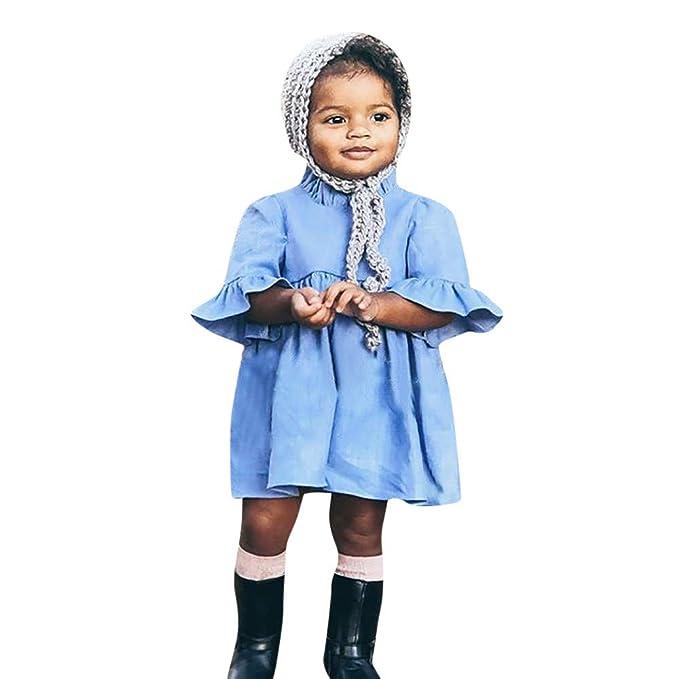 Sin Mangas Mujer Verano Niño Pequeño Bebé Niños Niñas Princesa Verano Casual Volantes Vestido Sundress