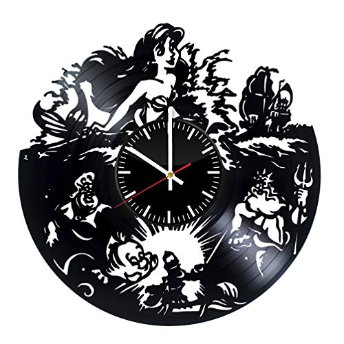 (The Little Mermaid vinyl clock, walt disney vinyl wall clock, vinyl record clock hans christian andersen animated fantasy film princess ariel kids clock wall art home decor 096 - (a2))