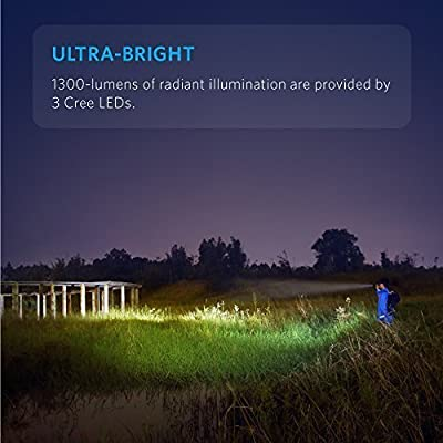Anker Ultra-Bright Tactical Flashlight with 1300 Lumens, Rechargeable(26650 Battery Included), IP67 Water-Resistant, Bolder LC130 LED with 5 Light Modes for Camping, Security, Emergency Use