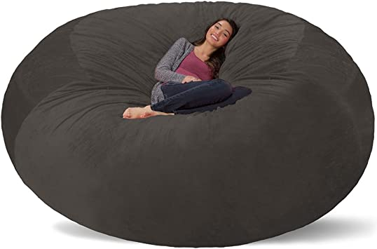 Amazon Com Comfy Sacks 8 Ft Memory Foam Bean Bag Chair Charcoal Furry Furniture Decor
