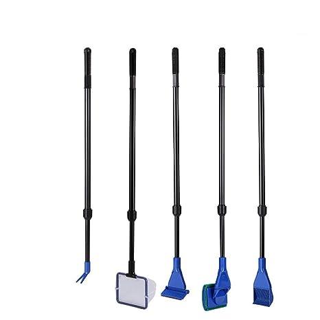 UEETEK 5 en 1 acuario pecera Kit Set herramientas esponja de cepillo limpieza de para peces