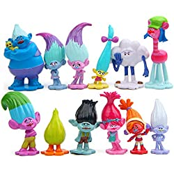 Evursua 12pcs Trolls Toys Poppy Troll Doll Mini Figures Cake Toppers for Kids Party Favor