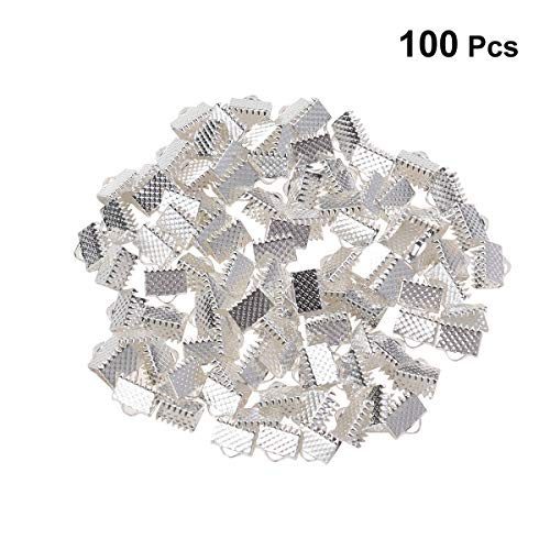 Healifty Assorted Size Gold Plated Brass Ribbon Bracelet Bookmark Leather Pinch Crimps End Cord Clamps 100PCS (Silver)