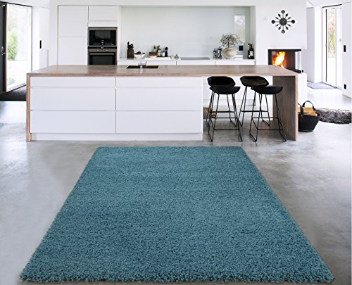 Happy Holidays Set (Sweet Home Stores Cozy Shag Collection Turquoise Solid Shag Rug, 5'0