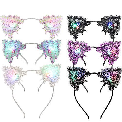 Cat Ear Headband, Fansport 6PCS LED Cat Ear Headband Party Headband Cute Lace Cat Ear LED Light up Hair Hoop ()