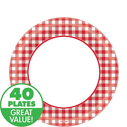 Disposable Classic Picnic Red Gingham Border Round Plates Party Tableware, Paper, 8