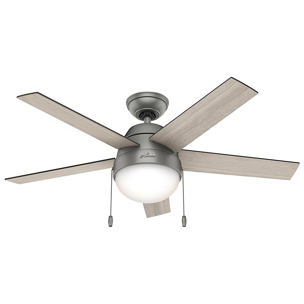 Hunter 59267 Contemporary Anslee Matte Silver Ceiling Fan With Light, 46'' by Hunter Fan Company