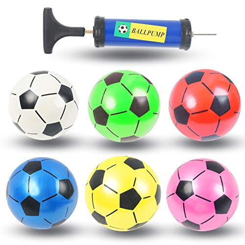 Soccer Ball Toys for Kids, 6PCS Colorful Kids Mini Toy Soccer Football for Toddlers, Plastic Inflatable Toy Soccerball Football, 7.5inch Beach Balls, with Pump