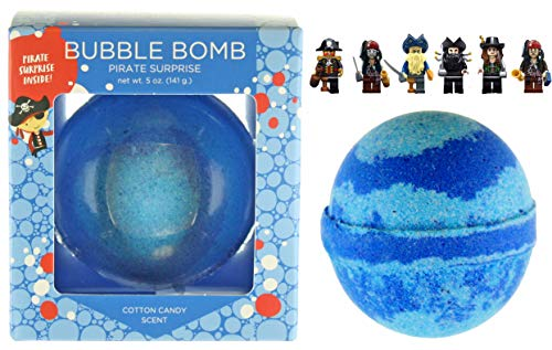 Pirate BUBBLE Bath Bomb with Surprise Toy Mini-figure Inside by Two Sisters Spa, Best Boys Gift Idea, Large Scented Spa Fizzy, Fun Color, Lush Scent, Kid Safe, Vegan, for Dry Skin, Hand-made in USA -