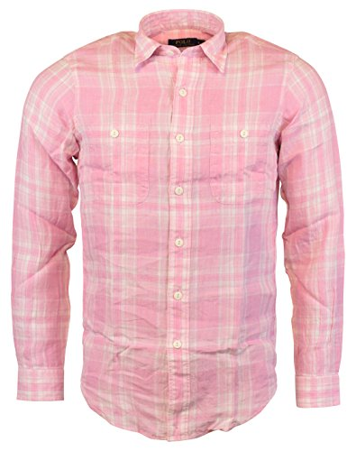 Polo Ralph Lauren Men's Plaid Linen Workshirt (Medium, Pink)