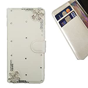 Devil Case- Love Love Flower 3D hecho a mano de la manera cristalina de Bling del Rhinestone de la PU de la carpeta del tir???¡¯?? For HTC One Mini 2/M8MINI CASE Cover ,HTC One Mini 2/M8MINI case,HTC One Mini 2/M8MIN