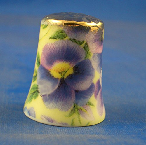 Porcelain China Collectable Thimble - Chintz Design Pansy on Yellow Floral with Free Gift Box
