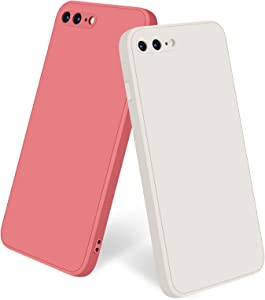 Amzpas [2 Pack] Compatible with iPhone 7 Plus Case, iPhone 8 Plus Case Silicone Phone Case, Slim Shockproof Protective Cover Case with [Soft Microfiber Lining]