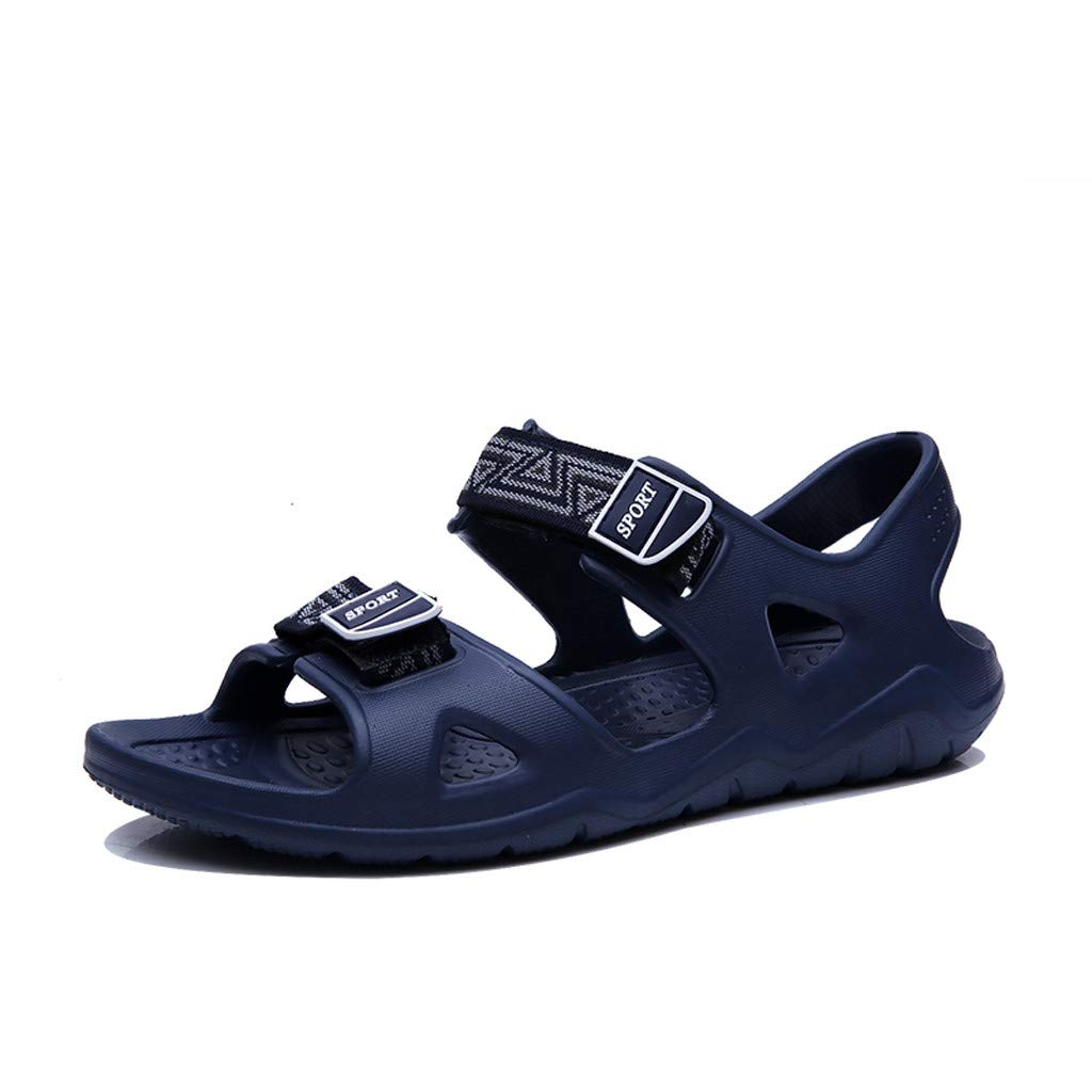 Respctful✿Men Leather Sandals Waterproof Casual Open Toe Outdoor Shoes with Adjustable Buckle Strap