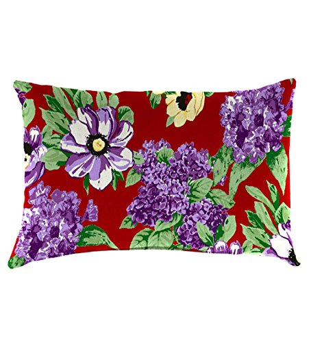 Classic Polyester Decorative Outdoor Lumbar Throw Pillow, 19'' x 12'' x 5.5'' - Red Floral Garden