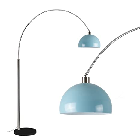 lowest price b2e9b c78a7 Modern Elegant Designer Curva Style Large Brushed Chrome & Black Marble  Base Floor Lamp with A Modern Gloss Mint Green Metal Dome Light Shade