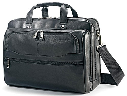 (Samsonite Durham Colombian Leather 2 Pocket Briefcase Black)