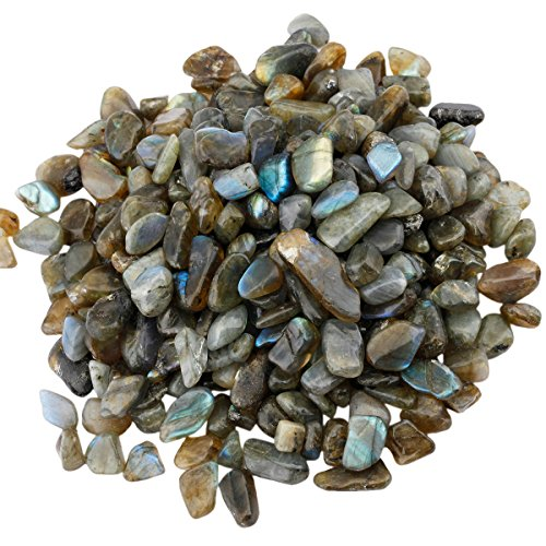 SUNYIK Labradorite Tumbled Chips Stone,Crushed Crystal Quartz Pieces,Irregular Shaped Stones,1pound(about 460 gram)