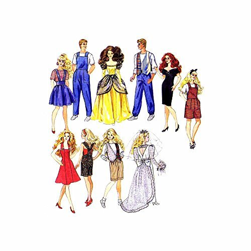 Barbie Doll Clothing Patterns - McCall's 6317 Vintage 90s Sewing Pattern Fashion Dolls like Barbie & Ken