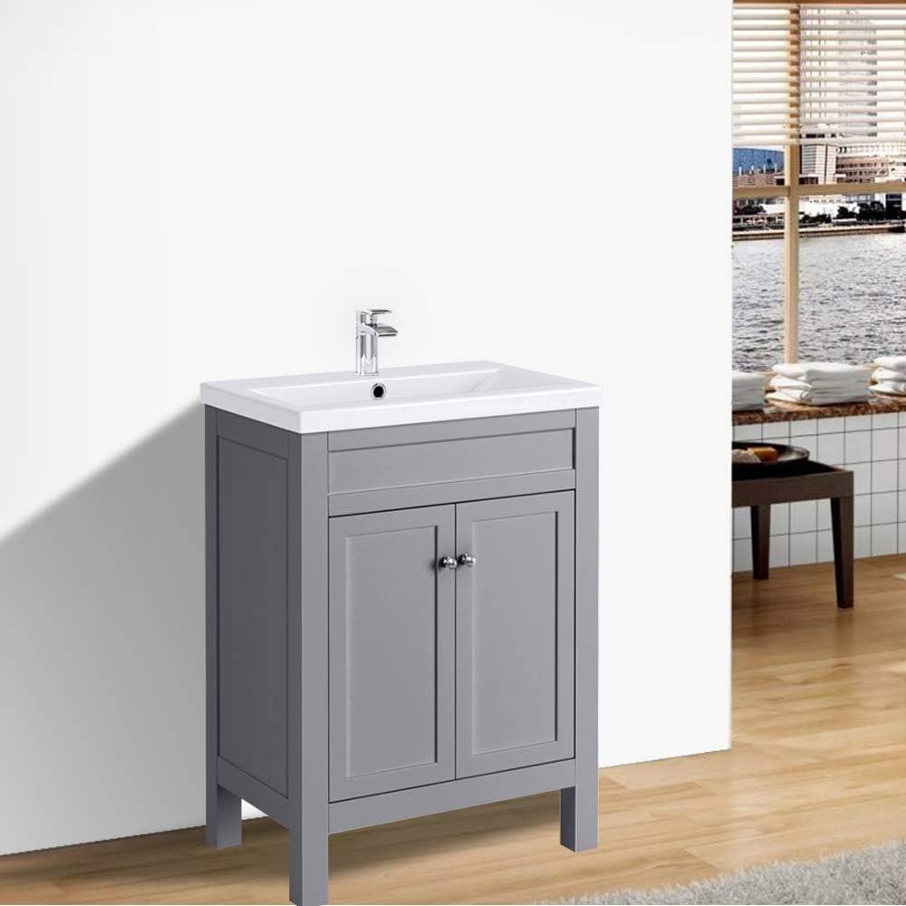 Nrg Traditional Bathroom Vanity Sink Unit Cabinet Basin Floor Standing Storage Furniture 600mm Grey Amazon Co Uk Kitchen Home