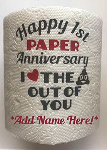 - ADD A NAME! BG Boutique Funny Customized Happy 1st Paper Anniversary I Love the Krap Out Of You Toilet Paper Gag Gift First Novelty Poop Emoji