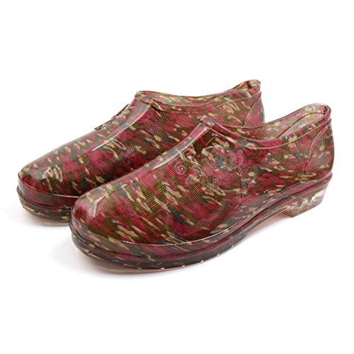 Uxcell Low Heel Antideslizante Impermeable Botas De Lluvia Wellies Tobillo Zapatos Para Mujer Rojo / Verde