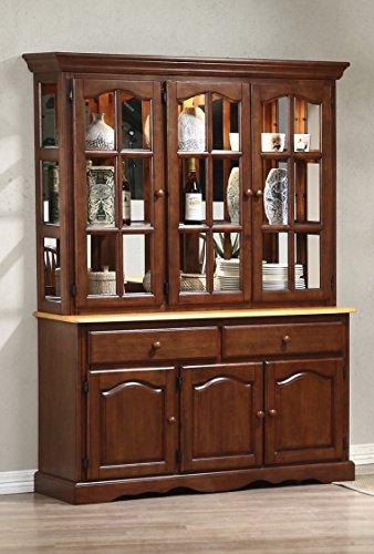 - Sunset Trading Treasure Buffet and Lighted Hutch, Nutmeg/Light Oak