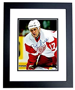 Brett Hull Signed - Autographed Detroit Red Wings 11x14 Photo BLACK CUSTOM FRAME - Flames, Blues, Stars, Coyotes - JSA Certificate of Authenticity