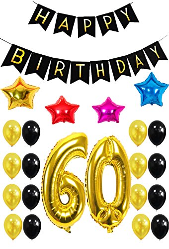 60th HAPPY BIRTHDAY PARTY DECORATIONS KIT - Happy Birthday Black Banner, 60th Gold Number Balloons, Gold and Black Balloons,Colors Star Balloon ,Perfect for 60 Years Old Party Supplies-27pcs