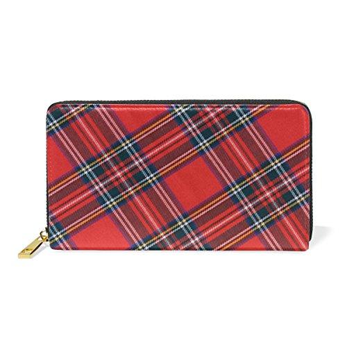 LORVIES Royal Stewart Tartan Leather Clutch Purse Long Wallet Card Holder - Tartan Stuart Royal