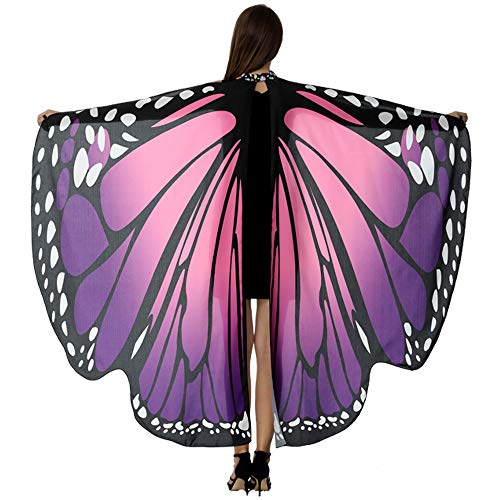 HITOP Butterfly Wings For Women, Butterfly Shawl Fairy Ladies Cape Nymph Pixie Costume Accessory ()