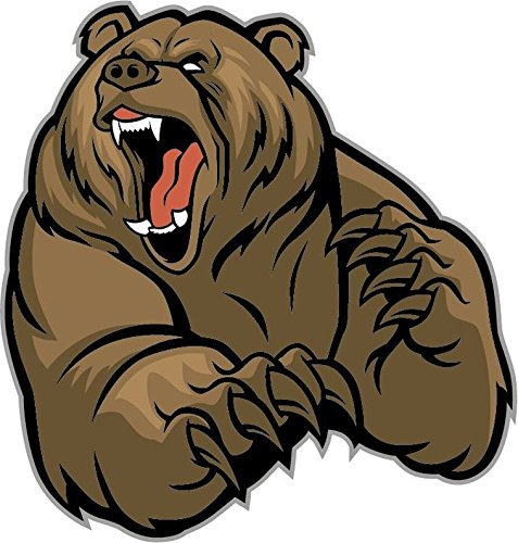 [Cartoon Grizzly Bear Mascot Sticker Decal Design 5
