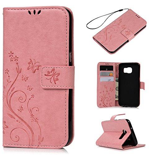 S7 Edge Case, Samsung Galaxy S7 Edge Case - Badalink Premium PU Leather Wallet Vintage Embossed Flower Protective Magnetic Slim Folio Flip Cover & Hand Strap & Card Holders & Soft Inner Case - Pink (Premium Leather Case Pink)
