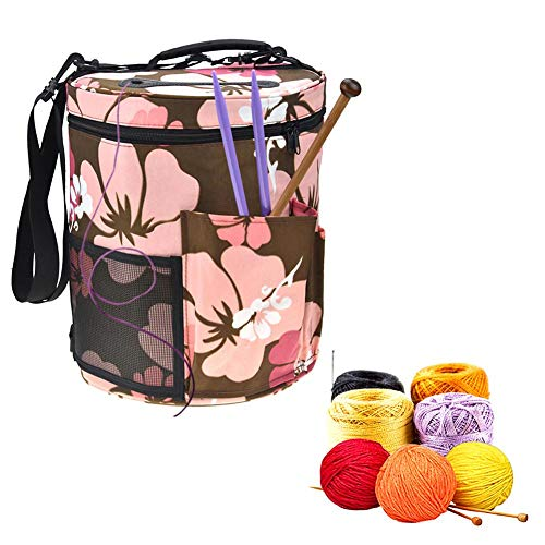 Woolen Yarn Storage Bag Portable Tote Light and Easy to Carry Pockets Accessories Organizer organizing with Shoulder Strap Home as Crossbody Print Large-Sized Cylinder by sweetyhomes (Image #4)