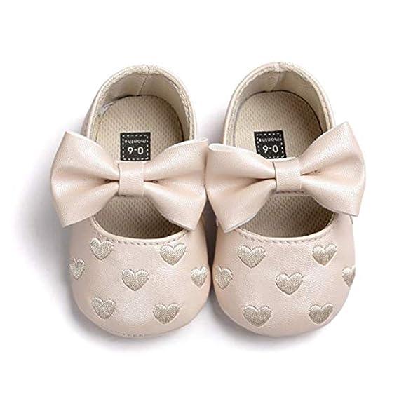 Zapatos de Bebe Color sólido Primeros Pasos, Morbuy Zapatos de princesa de amor Niño y Niña Recién Nacido Cuna Suela Blanda Antideslizante Zapatillas (11cm ...