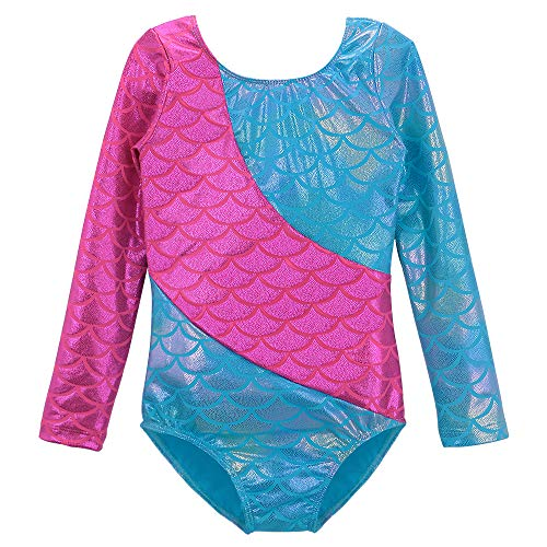 DAXIANG Dance Leotards for Girls Dreamlike Jellyfish Stitching Gymnastics Unitard 2-11 Years (150 (9-10 Years), Multicolor Mermaid)