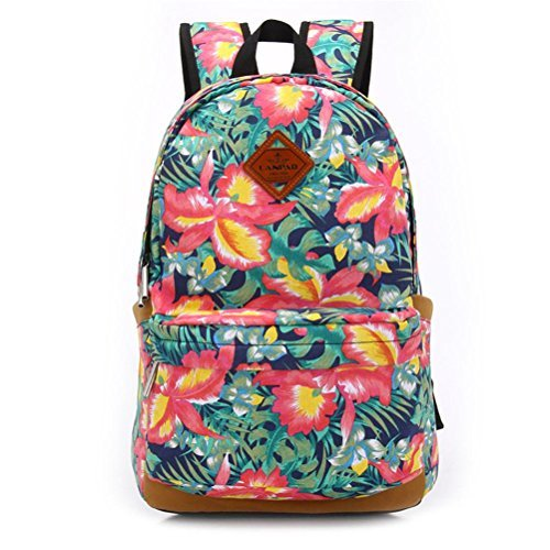 Vere Gloria Men Women Casual Travel Backpacks Striped Tribal Vintage Ethnic Aztec Hiking Daypacks College Satchel High Middle School Students Rucksacks Large Capacity Double Shoulder Strap Laptop Bags (3-flowers)