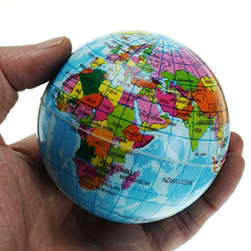 Mini Foam Globe - 1 Piece Mini Foam World Globe Teach Education Earth Atlas Geography Toy Map Elastic Ball Model Figurines Ornaments Crafts 7.5cm ()